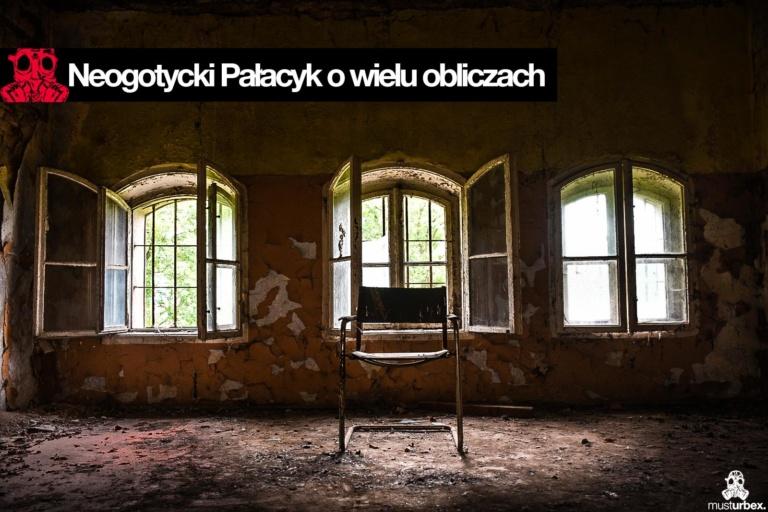 Neogotycki Pałacyk o wielu obliczach, Neogotycka willa w Piekarach pod Krakowem, Pałacyk Piekary, trzy okna na poddaszu i krzesło