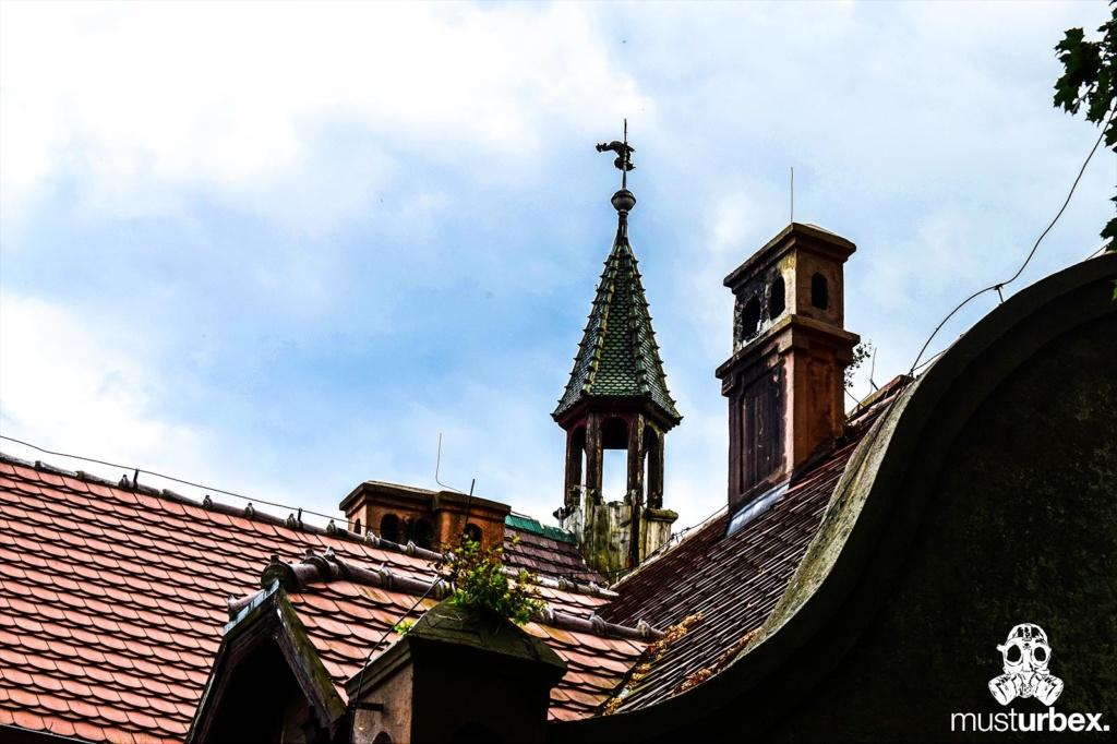 Malowniczy dwór - pałac w Osłej na Dolnym Śląsku, Osła 62, Dolny Śląsk - dach i wieża z kogutkiem
