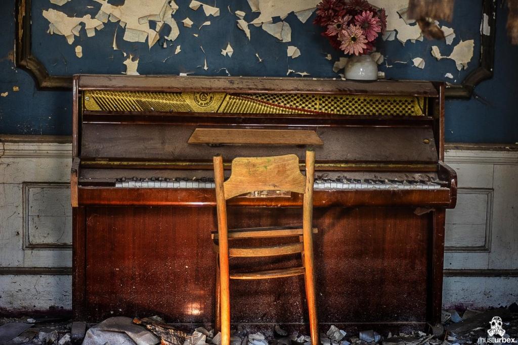 Pałac z fortepianem urbex musturbex pianino krzesło sztuczne kwiaty, palace with the piano, piano palace, Palast mit Klavier, palacio con el piano, palác s klavírem