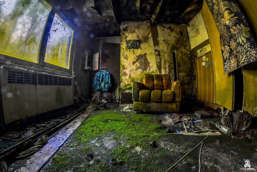 Hotel Biosphere URBEX, musturbex, opuszczony hotel Biosphere, hotel Biosfera, abandoned hotel, erholungsheim. dom dla pracowników zakładu, opuszczony dom wczasowy, ośrodek wakacyjny, dom wakacyjny, fotel, żółty fotel, natura, mech